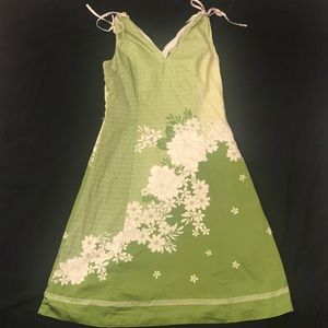 Ann Taylor green tea dress floral sleeveless knee